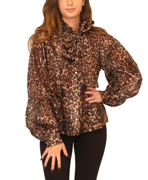 Cheetah Print Peplum Blouse - Fox's