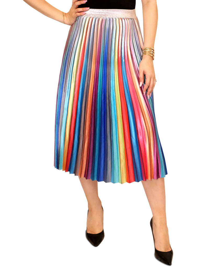 7c810c3a9cd099 Fox's Discount Designer Women's Clothing Ombre Pleated Midi Skirt ...