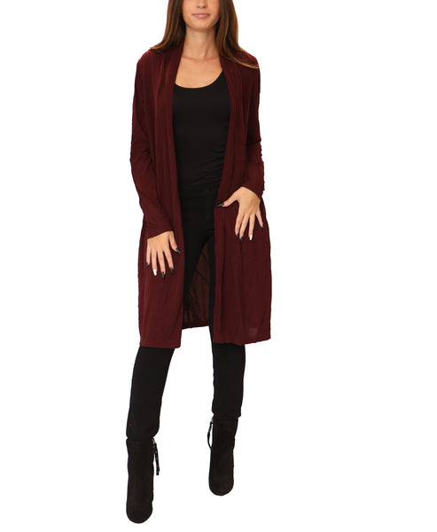 Cardigan Duster w/ Top Stitching Detail - Fox's