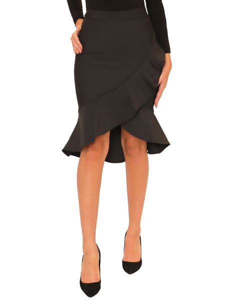 Bodycon Bandage Asymmetrical Ruffle Skirt
