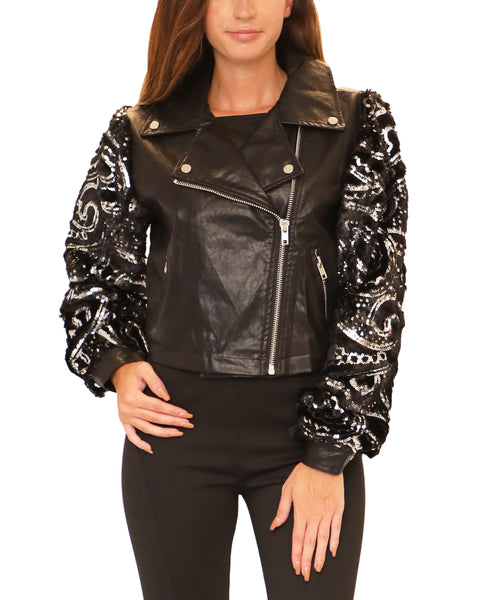 Moto Jacket w/ Faux Fur & Sequin