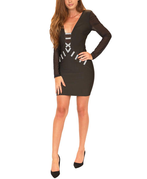 Bodycon Bandage Dress w/ Rhinestones