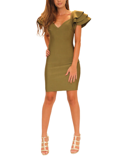 Bodycon Bandage Dress w/ Tiered Sleeves