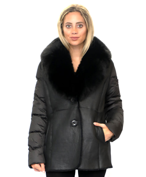 Zoom view for Shearling & Down Coat w/ Fox Fur Collar
