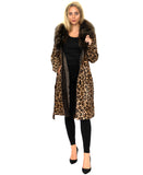 Leopard Print Calf Hair Coat w/ Raccoon Fur Trim