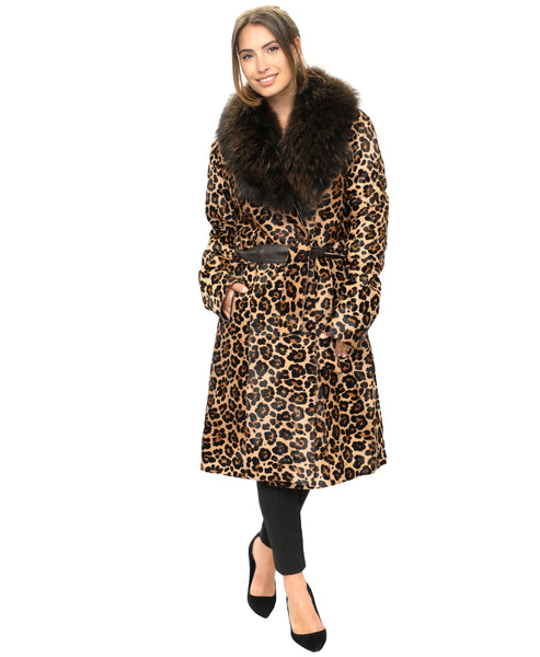 Zoom view for Leopard Print Calf Hair Coat w/ Raccoon Fur Trim