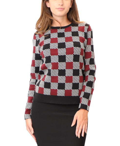 Lightweight Knit Sweater w/ Checkered Pattern