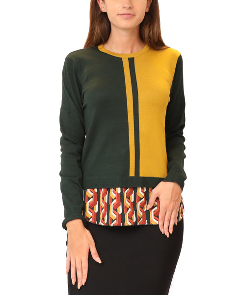 Colorblock Lightweight Sweater w/ Underlay - Fox's