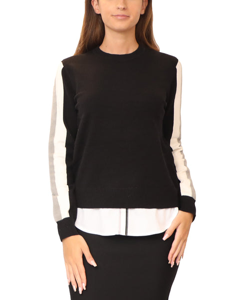 Athletic Inspired Lightweight Sweater w/ Underlay