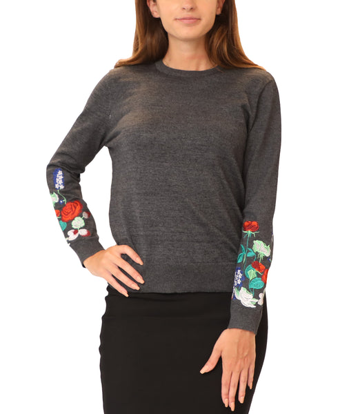 Lightweight Knit Sweater w/ Floral Embroidery