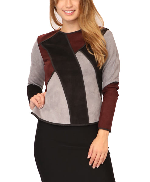 Faux Suede Colorblock Top