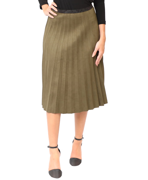Pleated Faux Suede Skirt - Fox's