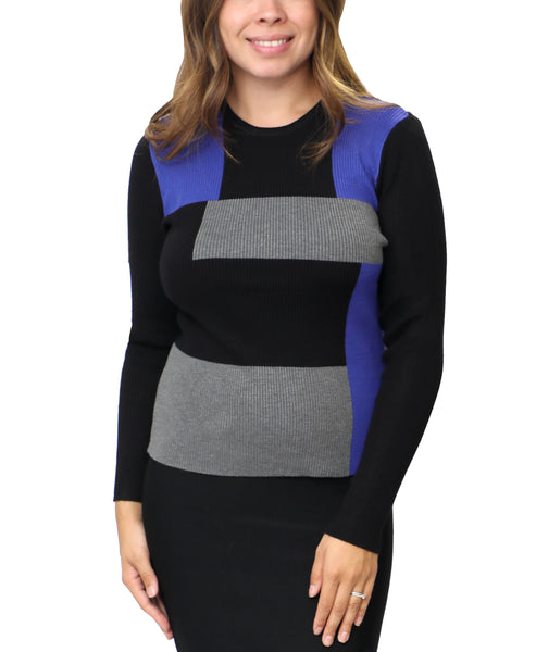 Zoom view for Colorblock Knit Rib Sweater
