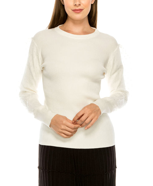 Zoom view for Lightweight Knit Sweater w/ Polka Dot Sleeves