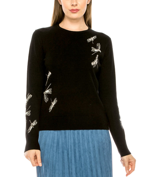 Zoom view for Lightweight Sweater w/ Beaded Dragonflies