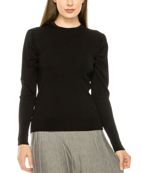 Zoom view for Ribbed Sweater w/ Ruched Sleeves