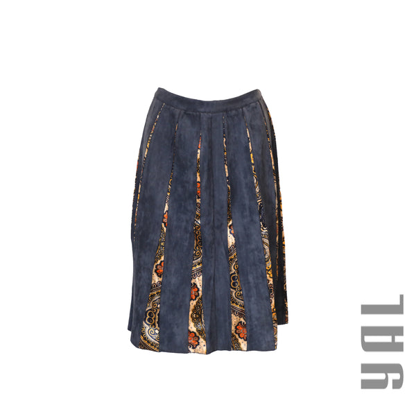 Faux Suede Skirt w/ Print Insets