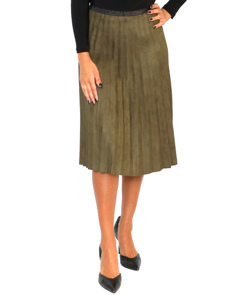 Zoom view for Pleated Faux Suede Skirt