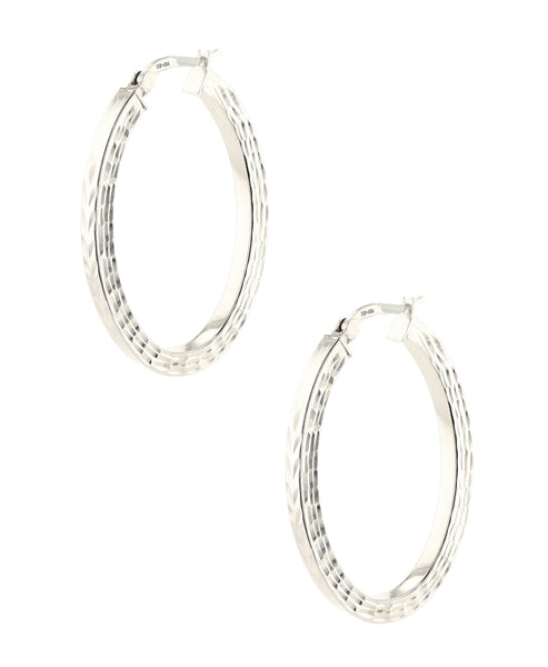 Zoom view for Indented Oval Hoop Earrings