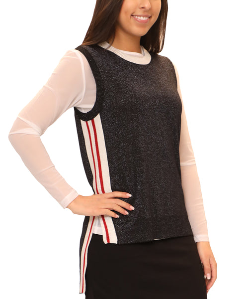 Zoom view for Hi-Lo Lurex Vest w/ Athletic Stripes