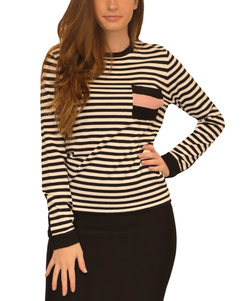 Zoom view for Lightweight Stripe Sweater w/ Pocket
