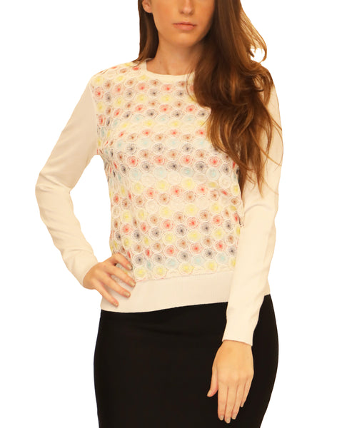Embroidered Lightweight Knit Top