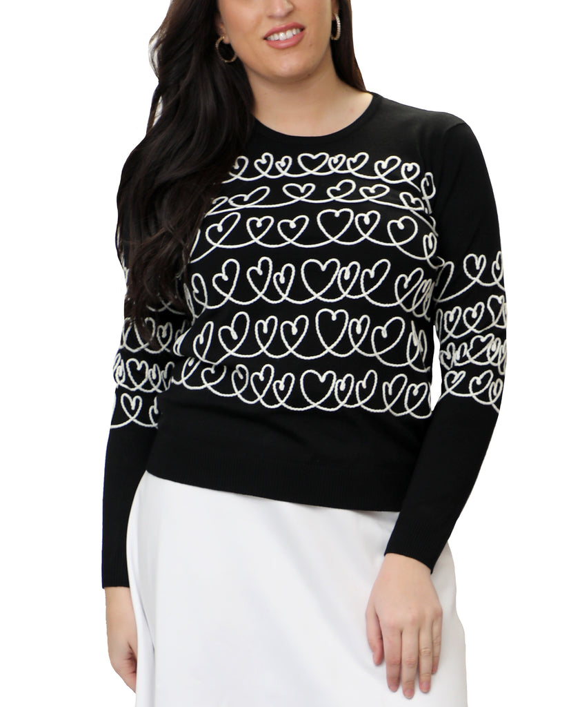 Heart Lightweight Knit Sweater