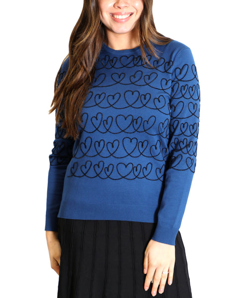 Zoom view for Heart Lightweight Knit Sweater A