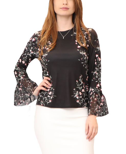 Floral Blouse w/ Bell Sleeves