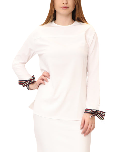 Blouse w/ Stripe Cuffs
