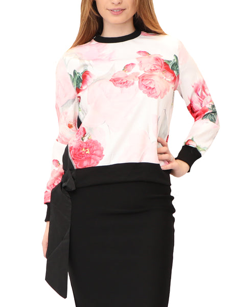 Rose Print Blouse w/ Tie Bottom