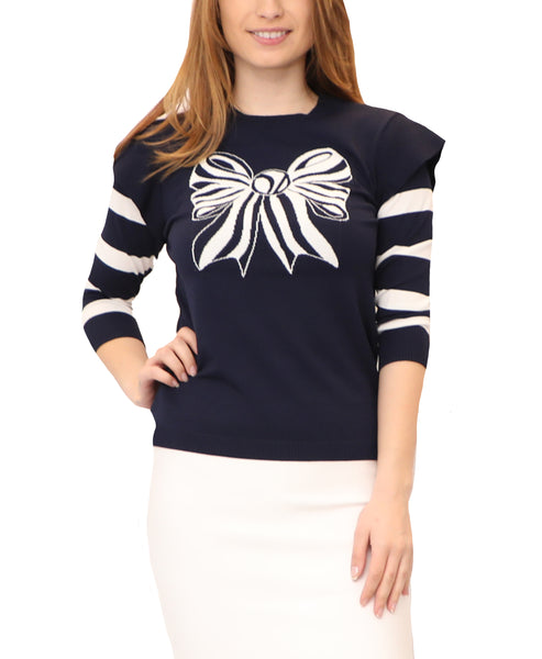 Knit Top w/ Intarsia Bow