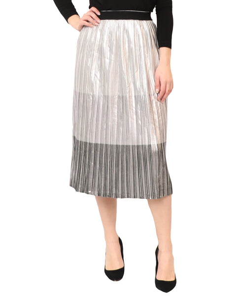 Colorblocked Lurex Pleated Skirt
