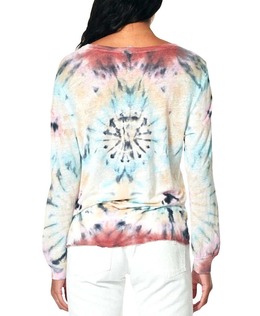 Tie Dye Split Neck Top