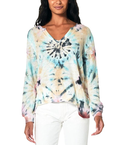Zoom view for Tie Dye Split Neck Top A