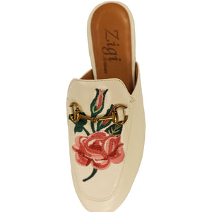 Floral Embroidered Flat Mule