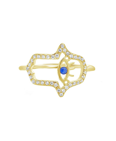 Zoom view for Gold Plated Sterling Silver Hamsa Ring