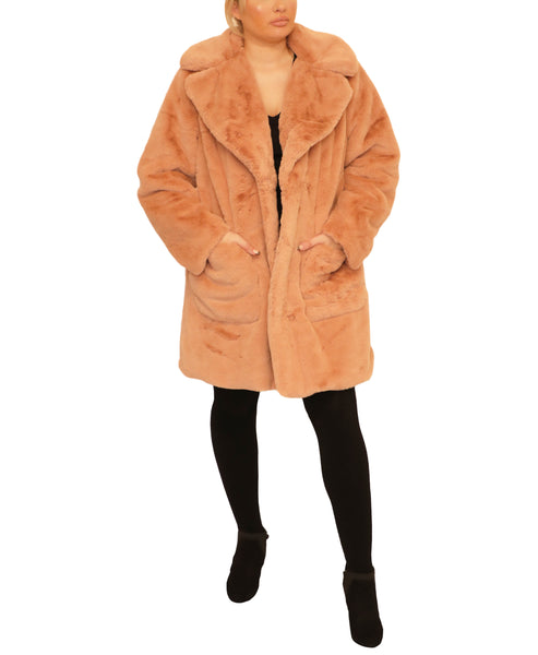 Extended Size Faux Fur Coat - Fox's