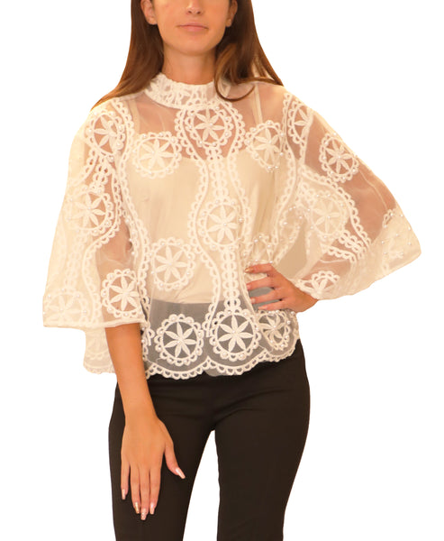 Sheer Mesh Blouse w/ Embroidery & Pearls