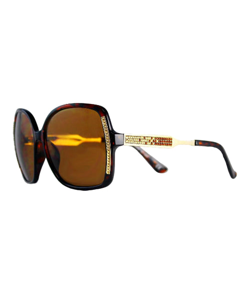 Square Oversized Sunglasses w/ Swarovski Crystals - Fox's