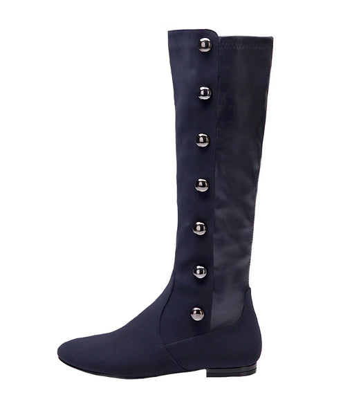 Tall Shaft Flat Boot w/ Button Accents