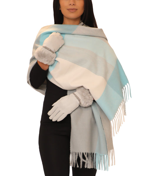 Cashmere Blend Plaid Scarf & Glove - 2 Pc. Set - Fox's