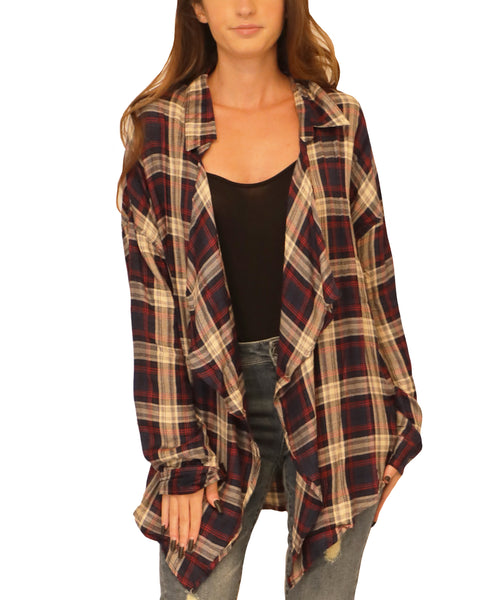 Plaid Shirt w/ Waterfall Front - Fox's