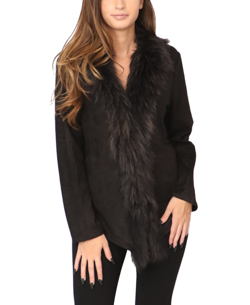 Faux Suede Jacket w/ Fur Trim - Fox's