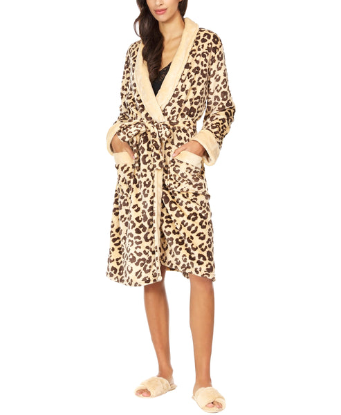Zoom view for Plush Leopard Print Robe A