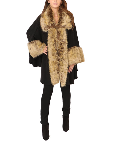 Wool Cape w/ Faux Fur Trim