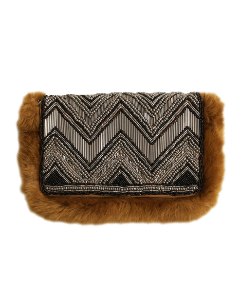 Beaded Handbag w/ Faux Fur Trim