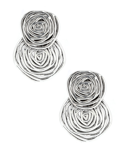 Zoom view for Overlapping Rose Clip On Earrings