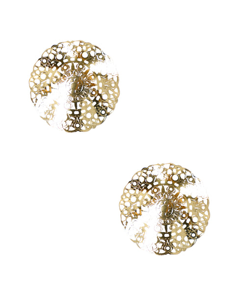 Zoom view for Large Wavy Disc Stud Earrings