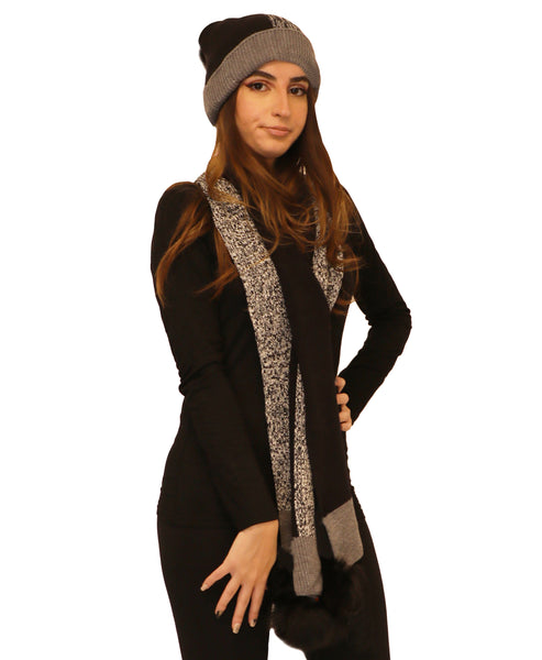 Colorblock Scarf & Hat Set w/ Fox Fur - Fox's